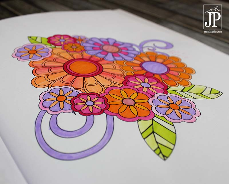 Jenean Morrison FLOWERS Coloring Book Colored with Tombow Dual Brush Pens by Jennifer Priest JPriest