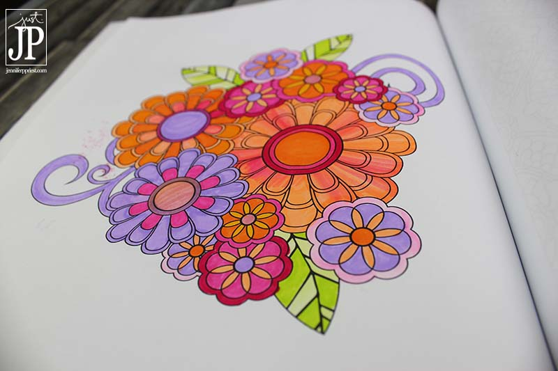 Jenean Morrison FLOWERS Coloring Book with Tombow Dual Brush Pens by Jennifer Priest JPriest