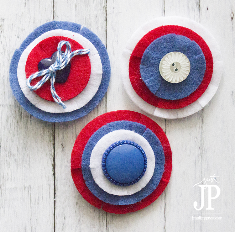 SQ easy felt barrettes for 4th of july - tutorial by JPriest