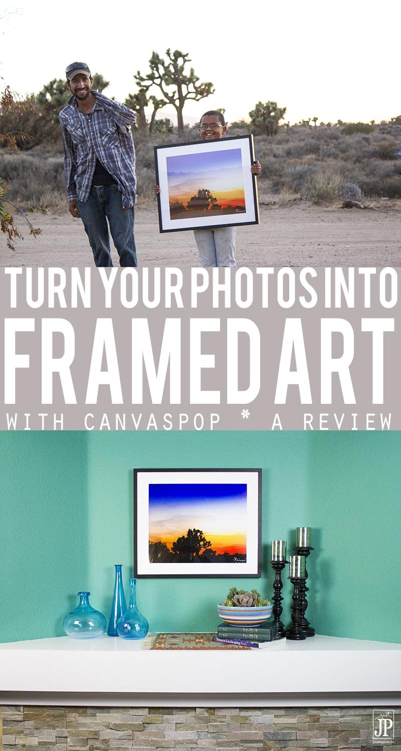 Turn your photography into framed art using CanvasPop. We turned a photo from my sister's front yard of the desert sunset into a framed print for her to take to her new home when she moves out of the area. It's easy! GIVEAWAY and Discount Code on the site -- just visit the link below #ad https://www.smartfundiy.com/?p=12872