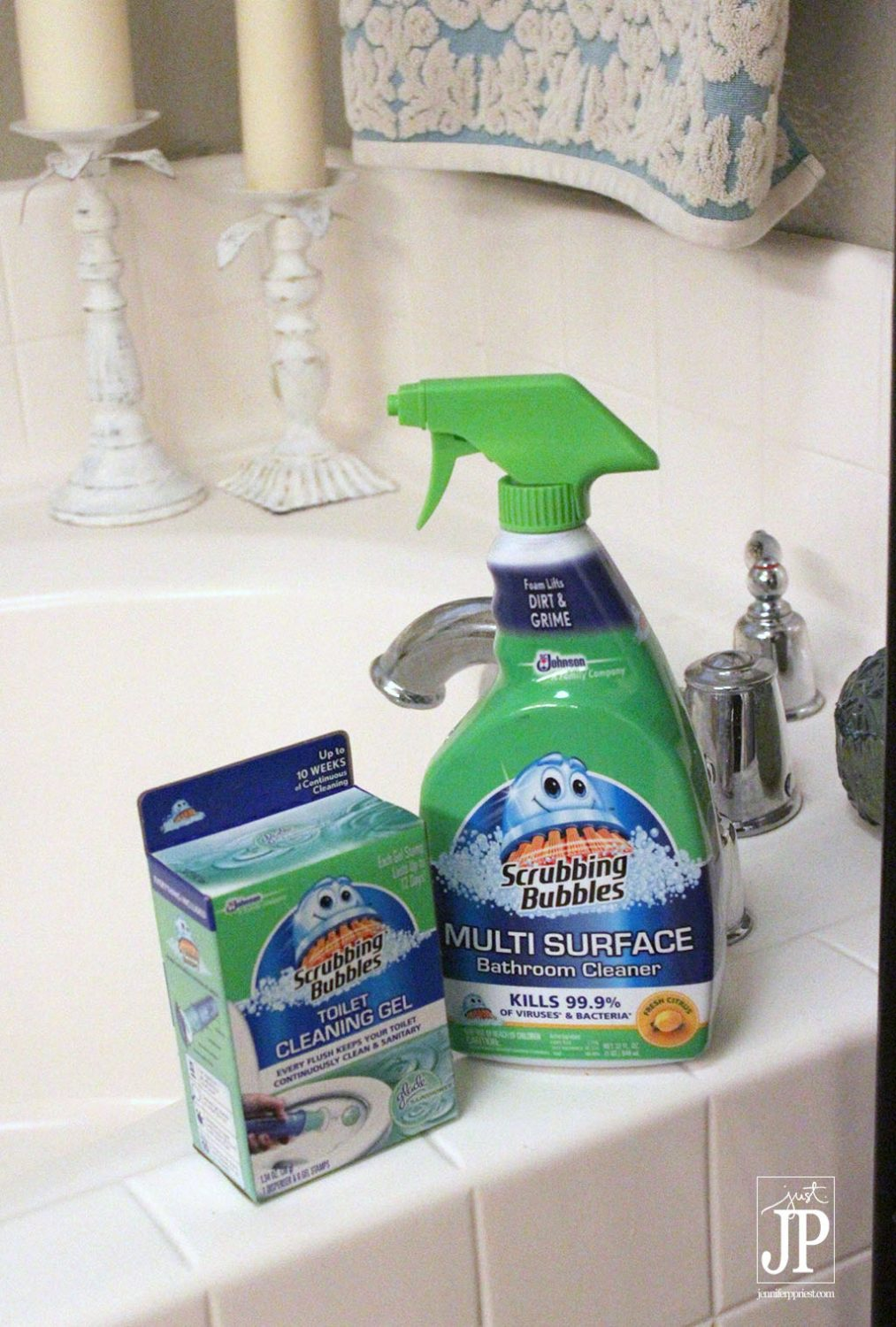 Scrubbing Bubbles Bathroom Cleaner and Toilet Gel make bathroom a clean relaxing retreat JPriest
