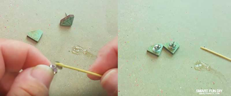 Screenshots from video on how to fix earrings showing how to fix earrings with E6000 glue