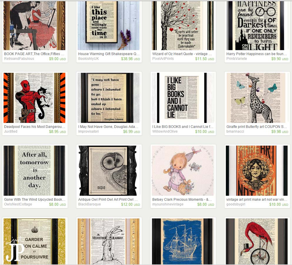 Book Page Art on Etsy JPriest
