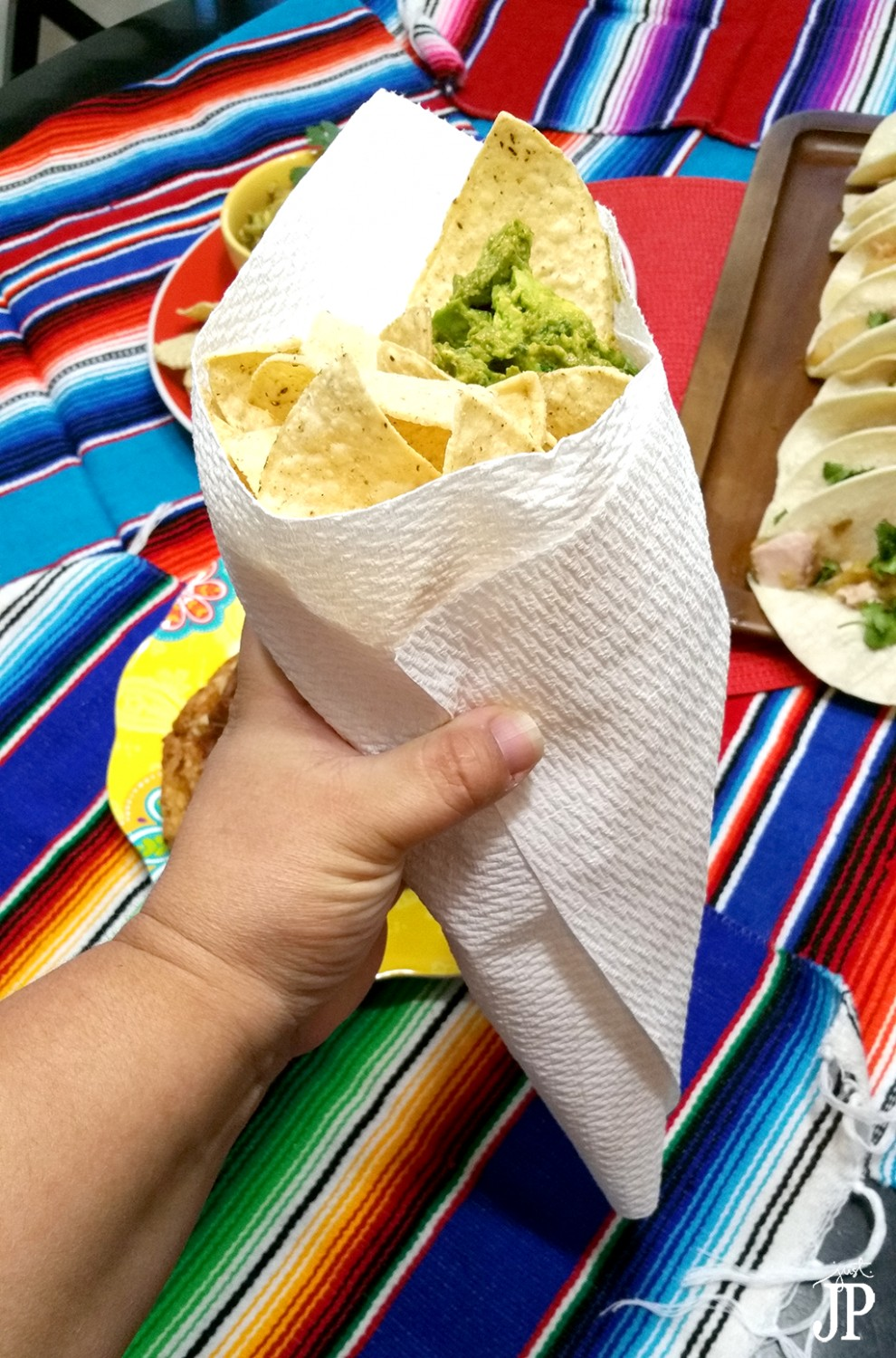 Roll-3-Viva-Towels-into-Cone-for-Tortilla-Chips-and-Guacamole-JPriest