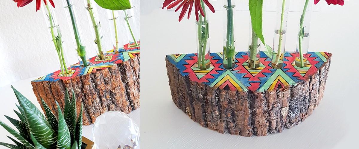 Diy Wood Slice Test Tube Bud Vase Handmade Holidays 2015