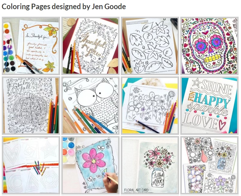Coloring pages by Jen Goode