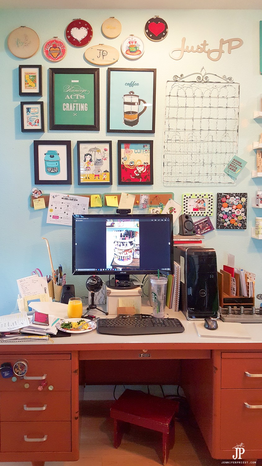 Use a vintage teacher desk for computer and crafts in a craft studio. CRAFT room tour with TONS of amazing ideas! Ikea craft storage, library card catalogs, apothecary cabinets and great shelves for organizing paint and organizing stamps. Harbor Freight spinner for inks and so many more ideas. VIDEO TOUR! 2016 Craft Room Tour by Jennifer Priest