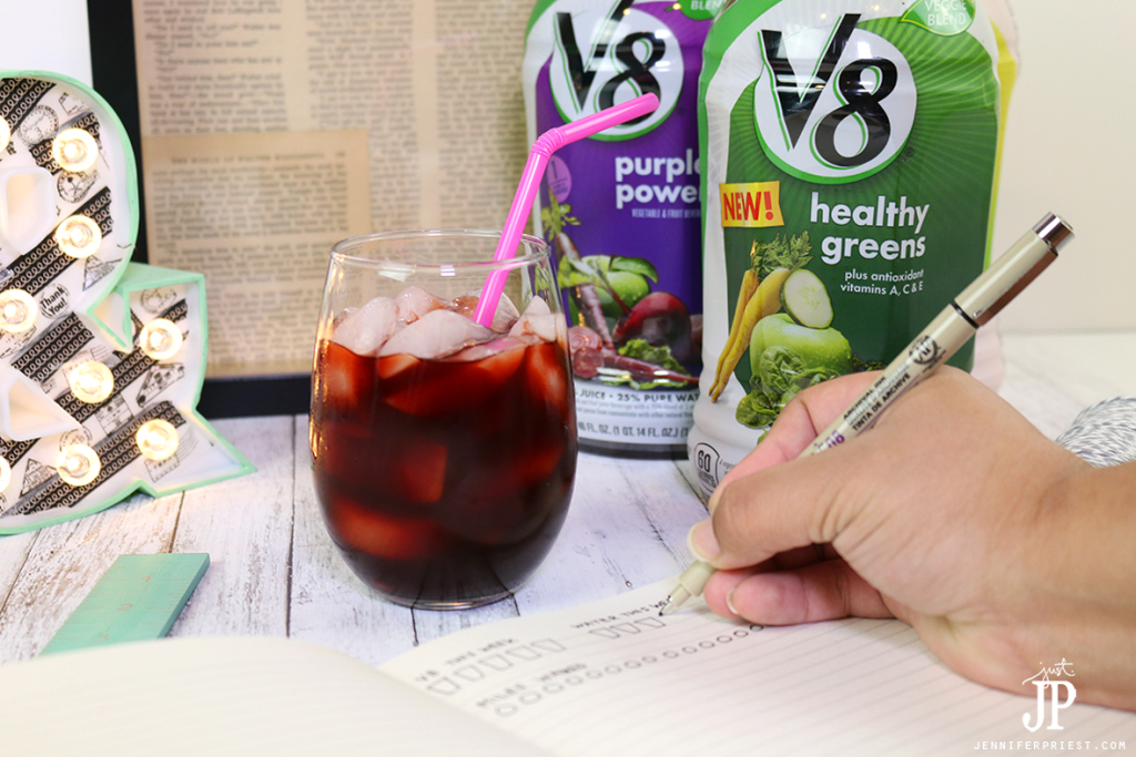 Get-healthy-with-setting-goals-in-a-bullet-journal-and-drinking-V8-Veggie-Blends-JPriest