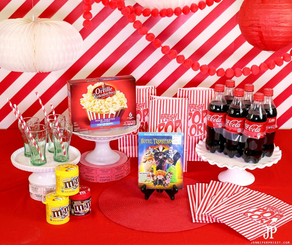 Make it a movie night with Coca-Cola floats and a DIY Popcorn Bar