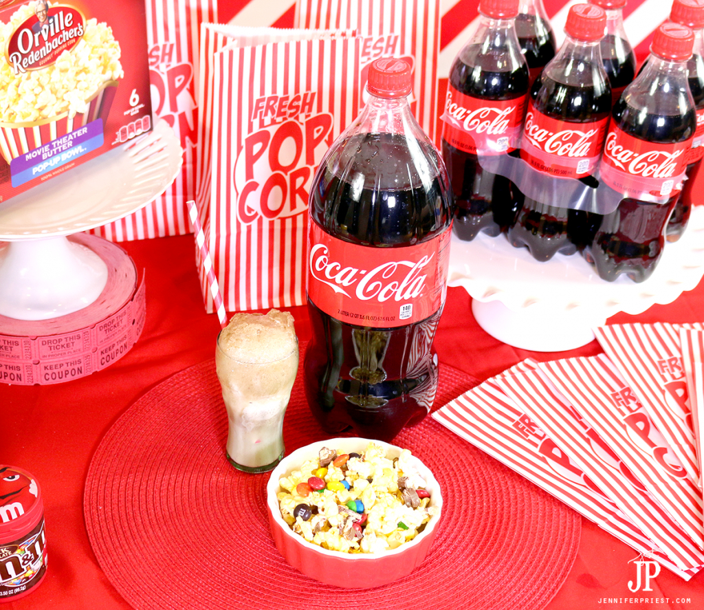 Mini Coca-Cola floats and a DIY popcorn bar are fast and easy movie night snacks the whole family can enjoy! jennifer Priest shares how to make a movie happen in under 20 minutes.