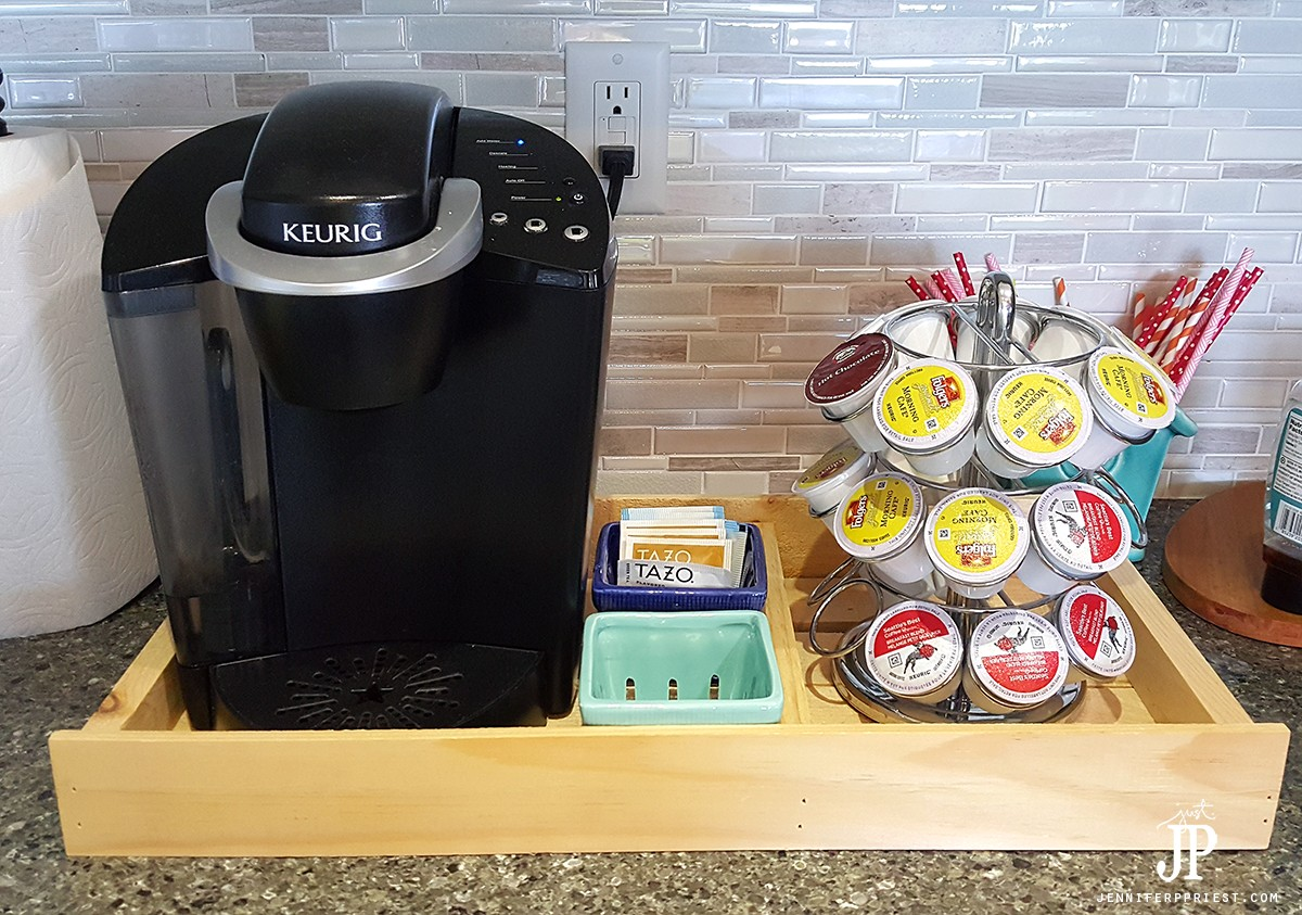 DIY-Coffee-Stattion--from-Wood-Tray---Check-to-see-if-KEURIG-fits-in-tray