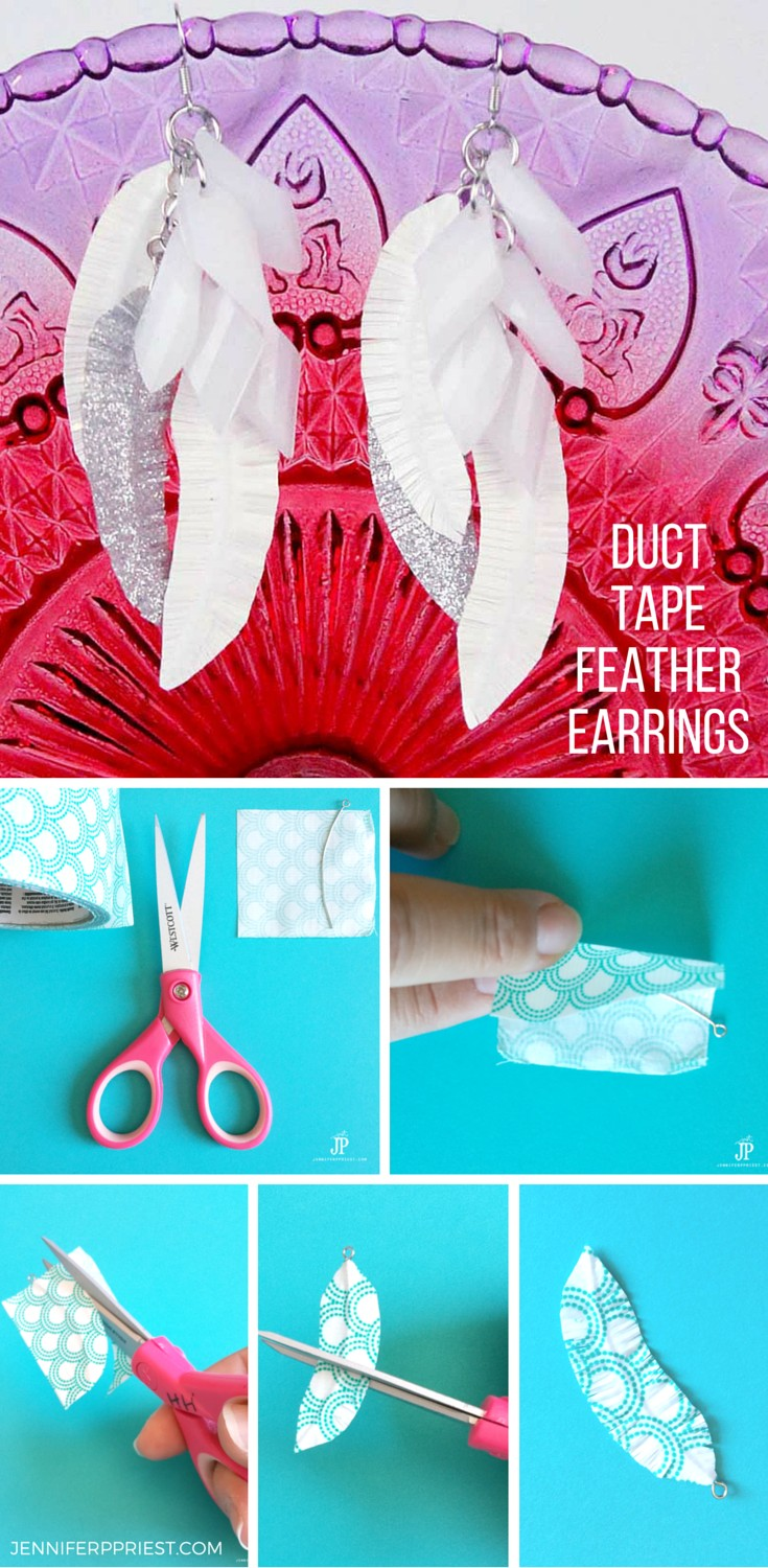 Create EASY FUN Duct Tape Feather Earrings! No jewelry skills or know-how needed. Just follow this simple tutorial and VIDEO by Jenniferppriest