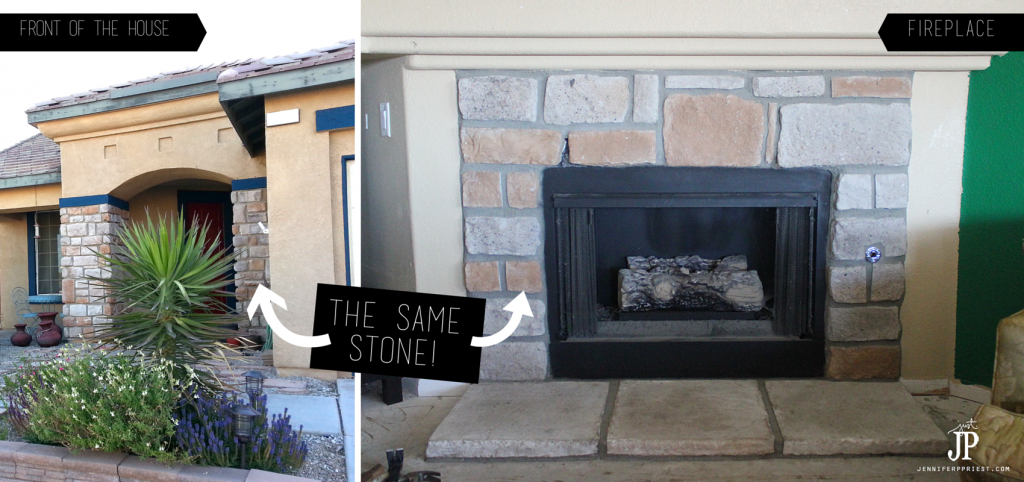 Same stone on fireplace and front of house - tract home - bad construction - jenniferppriest