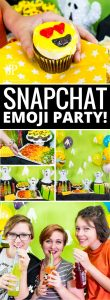 DIY Snapchat Party - celebrate a birthday or new year's eve with this fun emoji and Snapchat themed party. Frugal ideas, healthy foods, that are still fun!