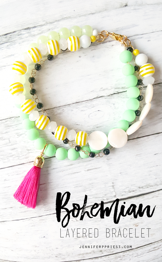 Make this DIY Bohemian stacked bracelet - she shares how to put it all together in a video tutorial with all the steps and supply list!