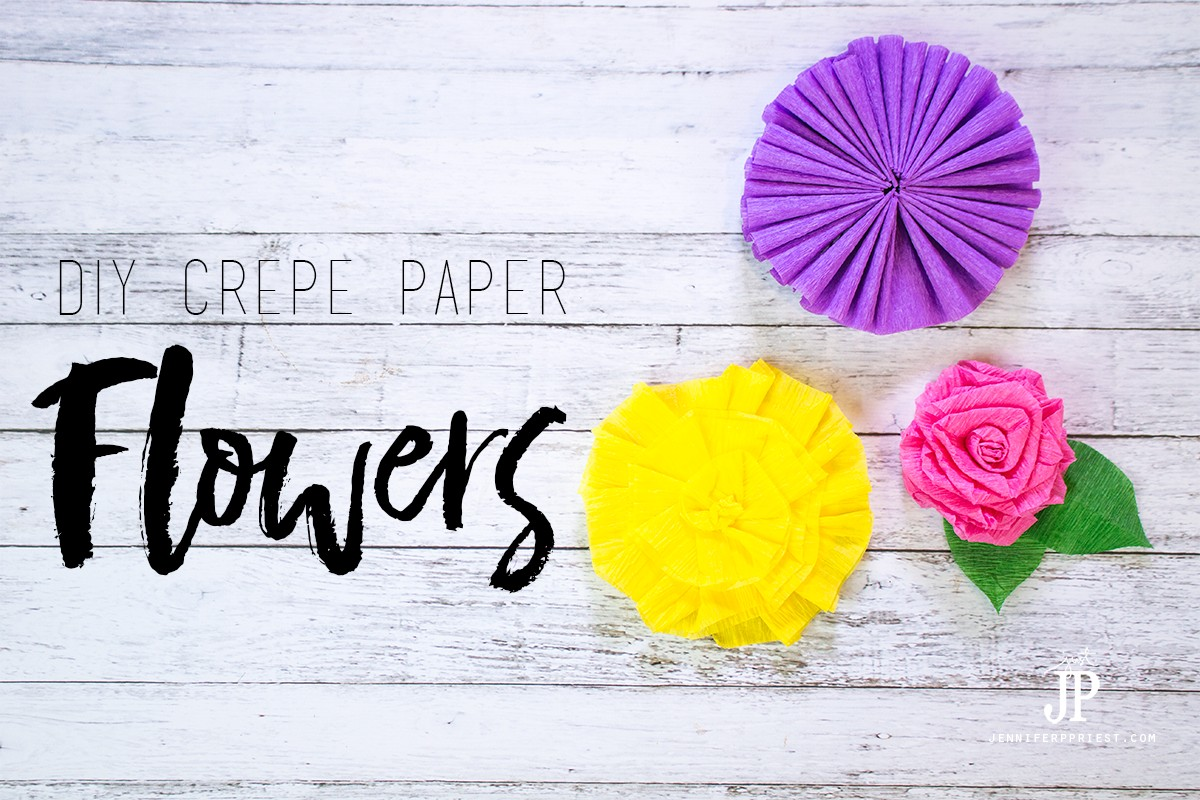 Three free DIY Crepe paper flower tutorials you will love - she shows how to make these flowers in SECONDS with cheap crepe paper! PLUS more tutorials with a flower theme from 5 other YouTubers.