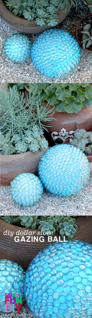 DIY Faux Gazing Ball for the Garden - how to use dollar store glass marbles to make a gorgeous glass gazing ball for the the garden #SmartFunDIY #gazingBall #DIYGazingBall #FauxGazingBall #DollarstoreCrafts #DollarStore #GardenDecor #GardenGazingBall