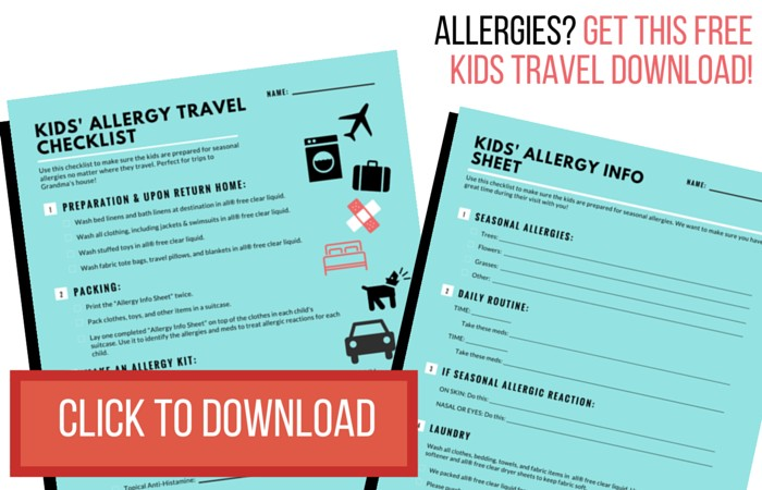 Click here to get the free printable allergy travel checklist for kids NOW