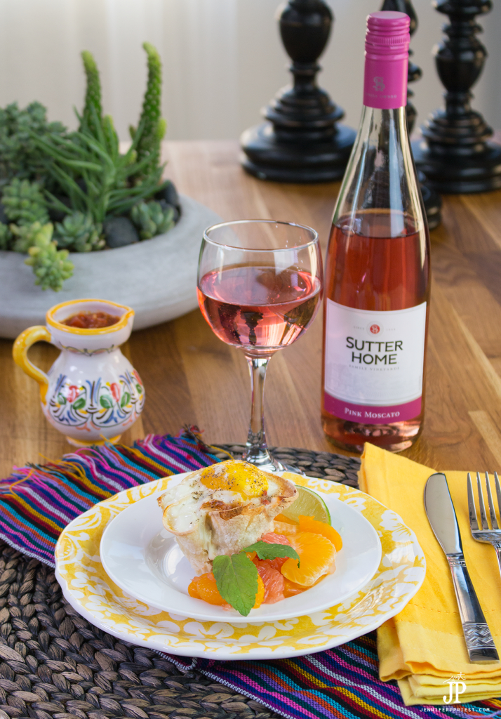 Perfect for an easy brunch - makes these baked Huevos Rancheros Cups with citrus salad and Sutter Home Pink Moscato. FULL RECIPE!