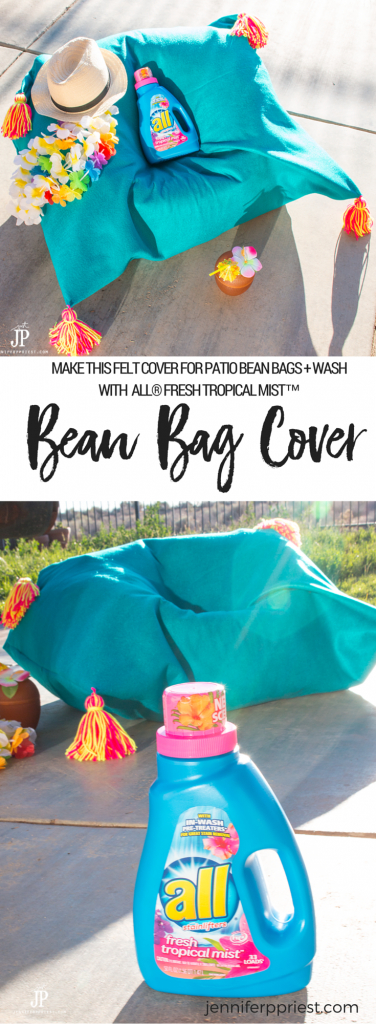 Our dogs chew all our patio furniture so we use bean bags - when we're not outside, we can easily stash them in a closet. If they get dirty, we can remove the covers and wash. I kinda love the yarn tassels :) Make this DIY Bean Bag Cover using felt to protect your bean bags on the patio. The cover is washable and will smell great when you wash it in all Laundry all® Fresh Tropical Mist™. SEE MORE: https://www.smartfundiy.com/tropical-diy-bean-bag-cover/ #BringTheTropicsHome [AD]