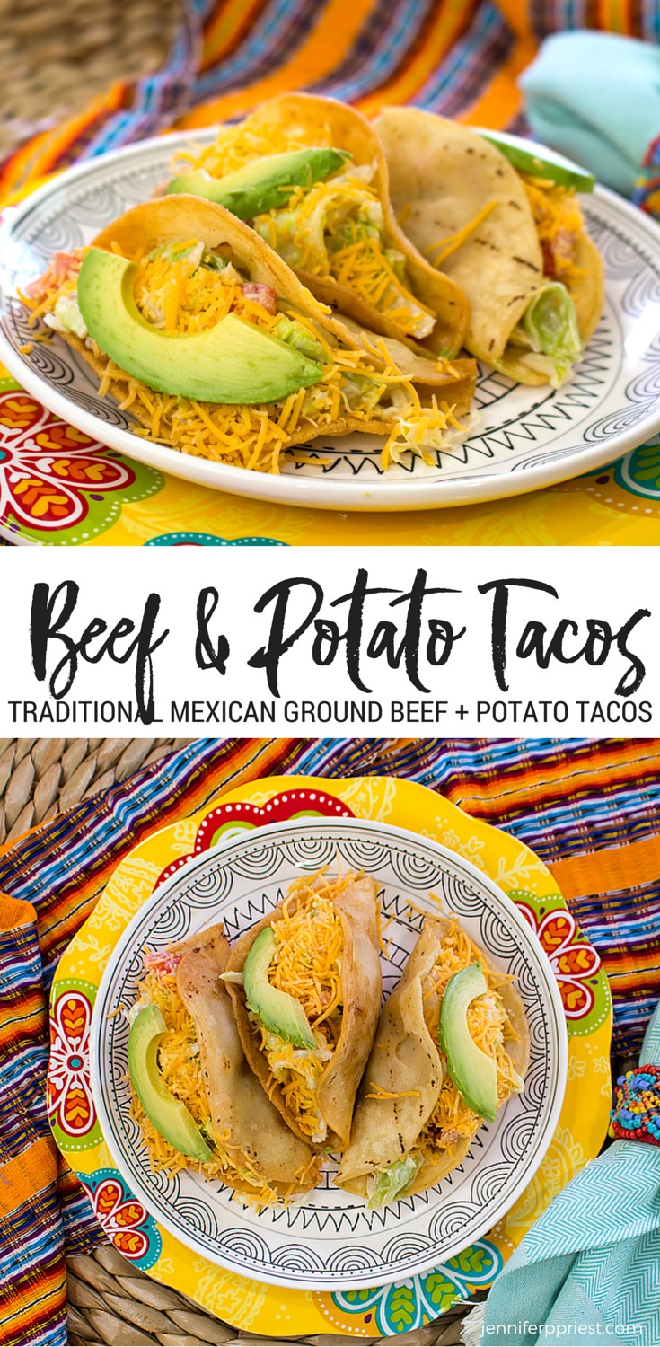 collage of images of beef potato tacos on plate