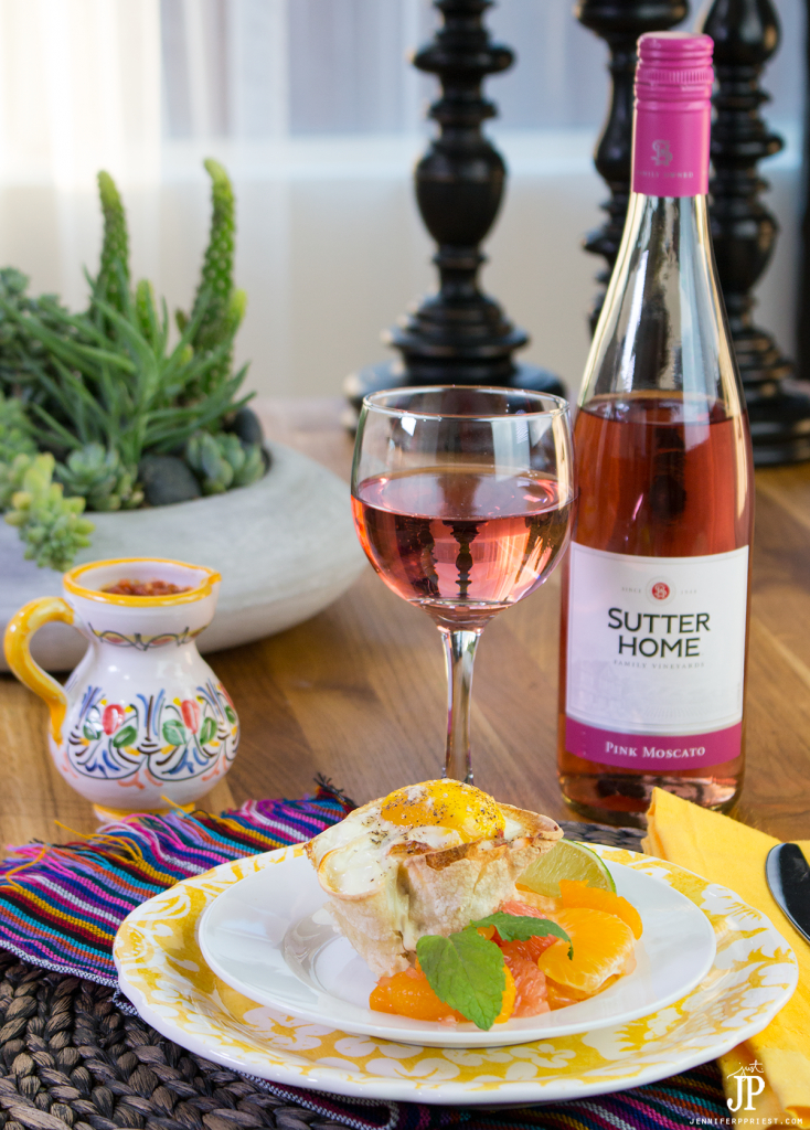 Sutter Home Pink Moscato is perfect for brunch with huevos rancheros cups and citrus fruit salad.