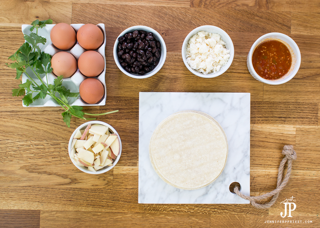 Ingredients for easy baked huevos rancheros recipe by jenniferppriest.com