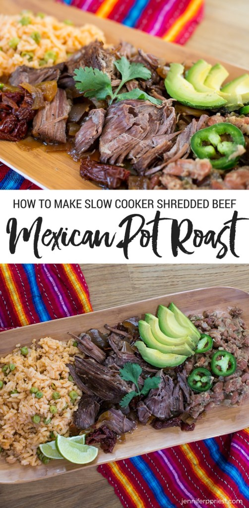 Slow Cooker Mexican Pot Roast for Shredded Beef by jenniferppriest - this is how to get the most AMAZING flavorful shredded beef for tacos, enchiladas and more! RECIPE with video tutorial by jenniferppriest