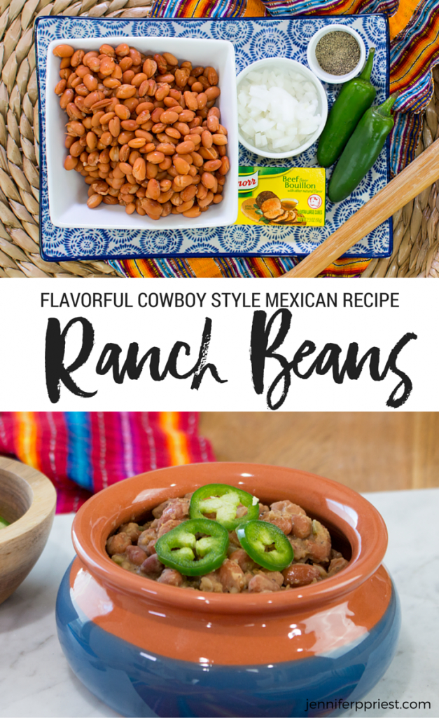 Flavorful Cowboy Ranch Beans Recipe using Knorr Bouillon - so good!! These are fast beans to make with amazing flavorful... so much easier than refried beans with more taste. #Saboreatuverano - get video and RECIPE at jenniferppriest.com. Sponsored post.