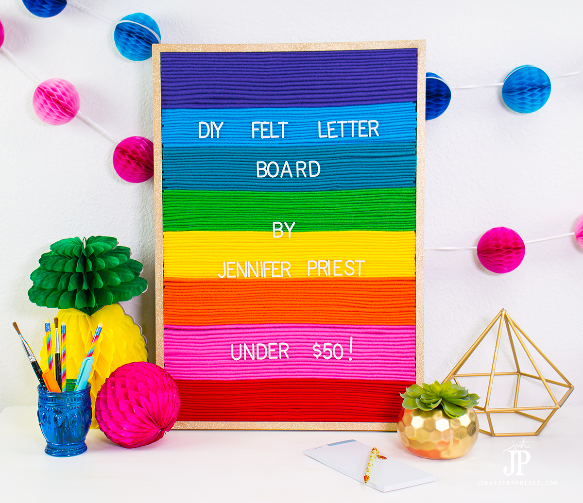 How to make a rainbow DIY felt letter board for under $50 - don't buy a felt letter sign that looks like everyone else's. Make a CUSTOM one!