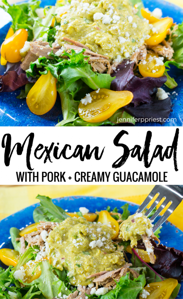Make this Mexican pork salad with leftover pork roast, creamy guacamole, and garden fresh pear tomatoes. EASY recipe, no dressing needed! #pruebaelsabordeknorr