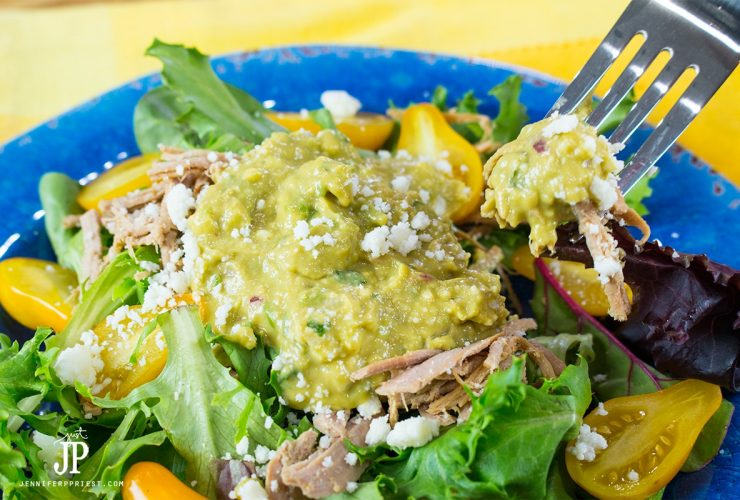 YUM! Shredded Pork salad with creamy guacamole and pear tomatoes. No dressing necessary - by jenniferppriest
