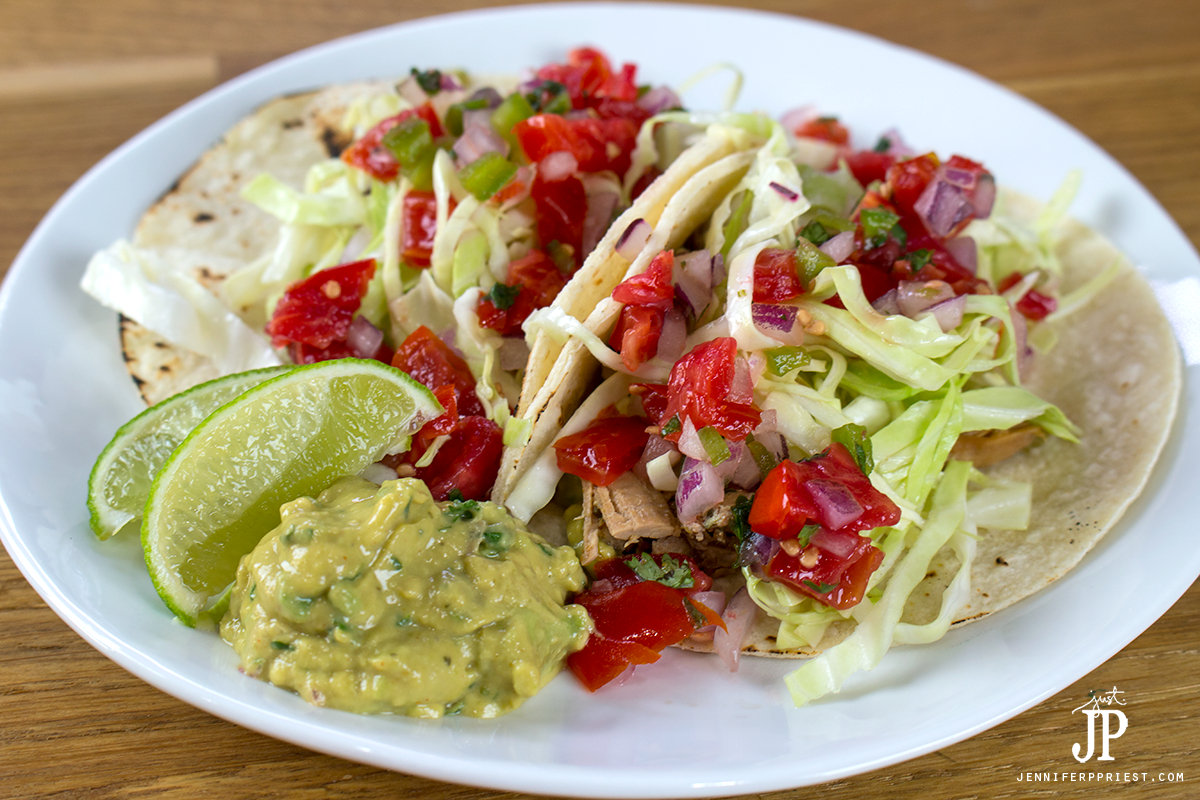 Add 1 TBSP of pico de gallo to top each taco.