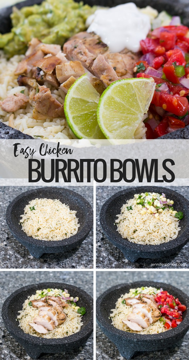 Chicken burrito bowl recipe - make it at home! Healthy burrito bowl PLUS creamy guacamole that you don't have to to pay EXTRA for! --- chicken burrito bowl recipe by jenniferppriest #PruebaElSaborDeKnorr Sponsored by KNORR and Mirum