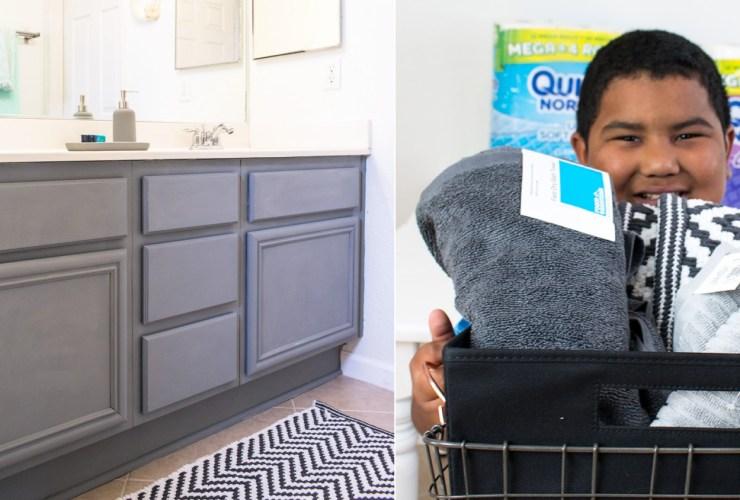How to organize a kids shared bathroom – teens and tweens #DesignedMega