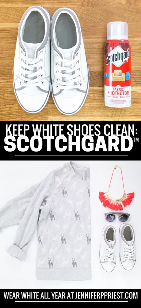 Wearing white after Labor Day is no problem! It's getting scuffs on pretty white sneakers that's the issue. How do I keep my white tennies looking so fresh and so clean? With Scotchgard™ - see how here: How to protect fabric in 10 minutes: https://www.smartfundiy.com/white-tennis-shoes-labor-day-protect-fabric-10-minutes-scotchgard/ #ProtectYourEverything [AD]