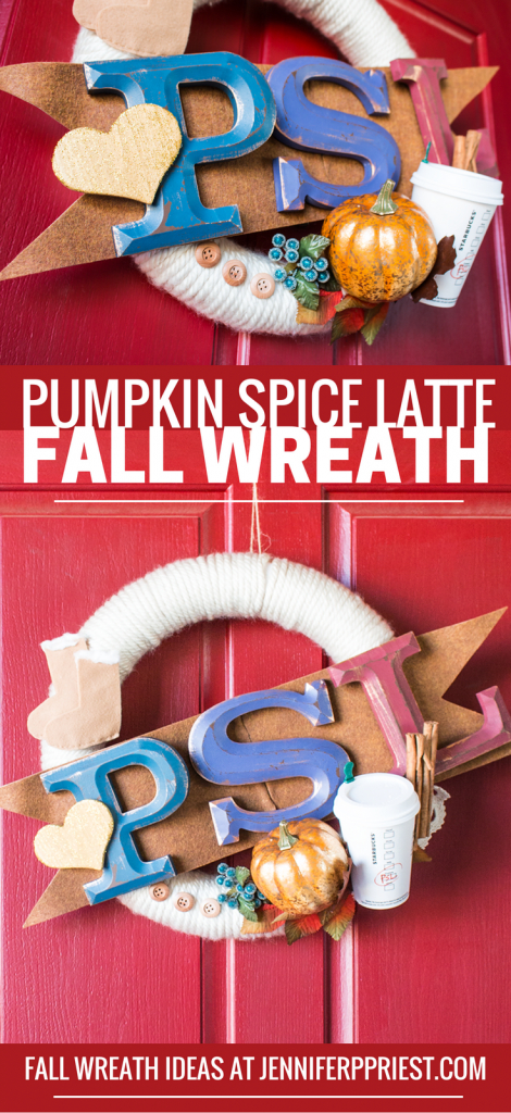 Fall wreath inspired by Starbucks PUMPKIN SPICE LATTE - PSL cup, sweater, ugg boots, and more make a FUN fall wreath with pumpkin! PSL Fall Wreath by Jennifer Priest - Pumpkin Spice Latte