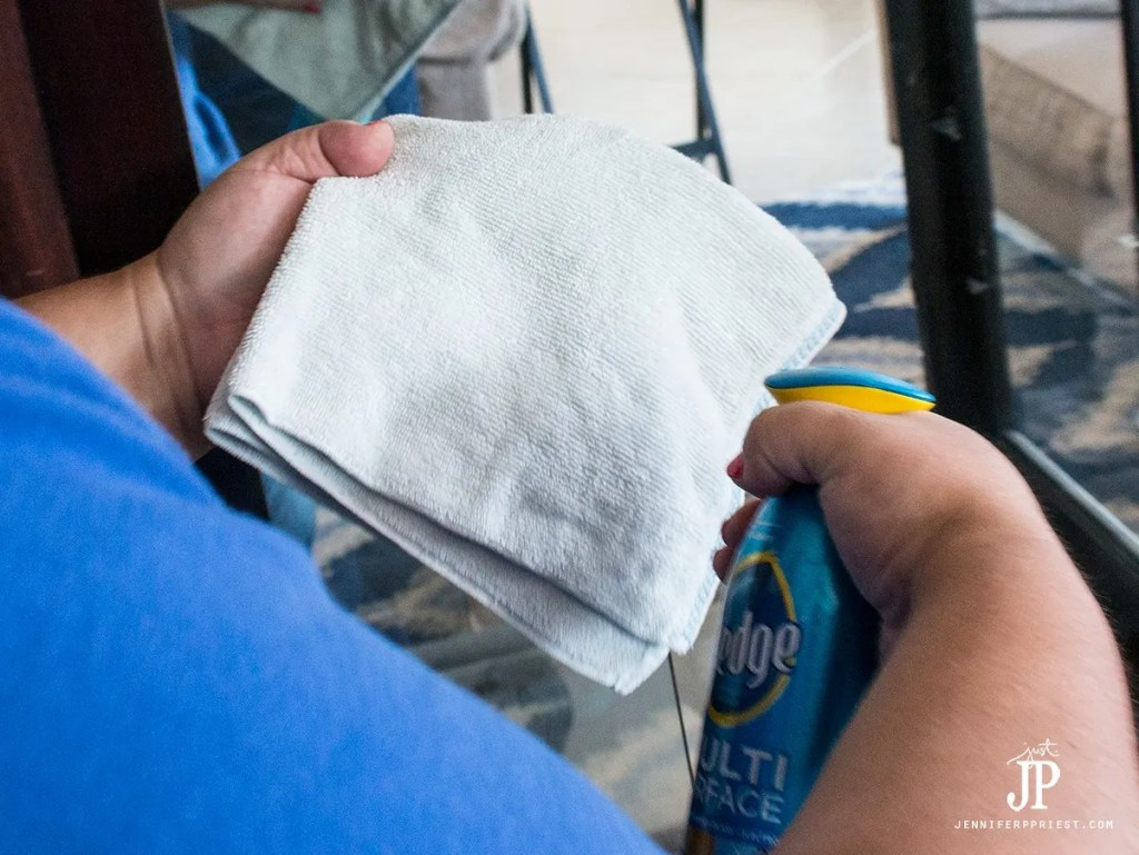 clean-curio-cabinet-apply-pledge-to-cloth-jenniferppriest
