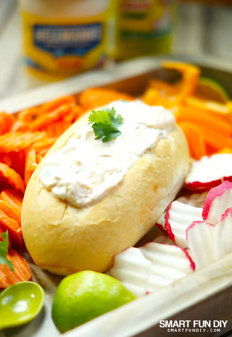 Mexican dip recipe baked in a bolillo roll