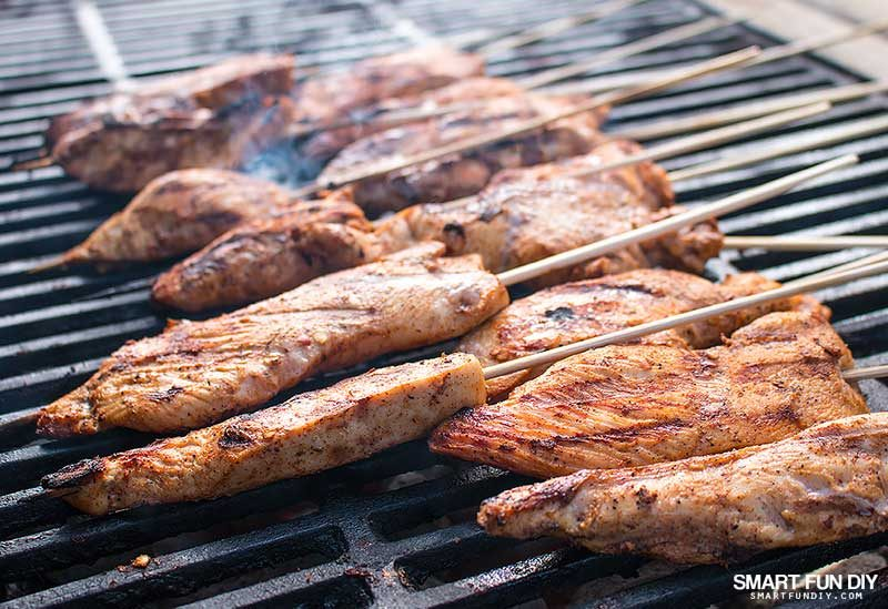 Chicken Skewers cooking on grill