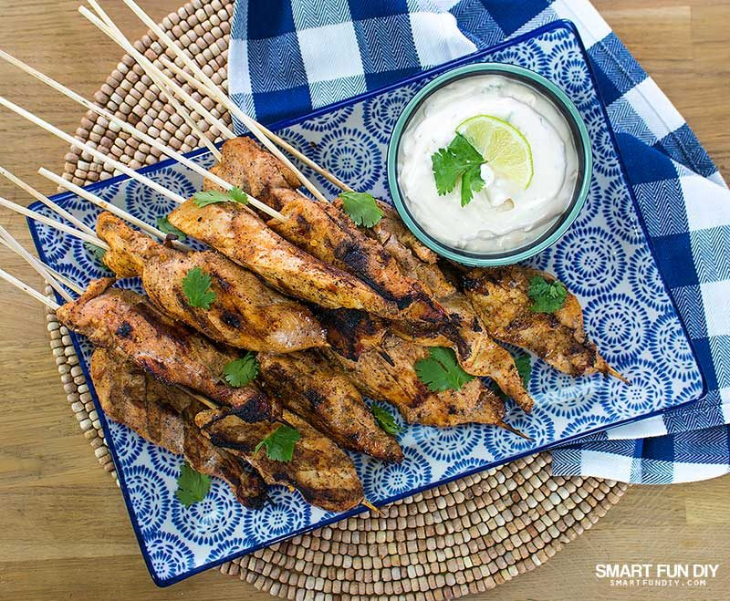 Mexican Chicken Satay Skewers on platter with dip