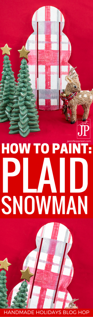 How to paint plaid - the easy way! VIDEO tutorial plus make this fun holiday snowman decoration using a Walnut Hollow Rustic Pallet Snowman. Part of the Handmade Holidays Blog Hop - see over 75 handmade gift, holiday decor, and holiday recipes ideas on this 3 day blog hop. Click here to start!