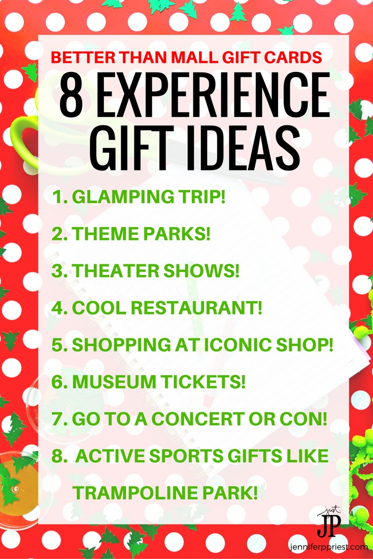Skip the gift cards and give EXPERIENCE GIFTS instead! 8 ideas for adventure gifts for all ages - stop adding to the clutter this year :)