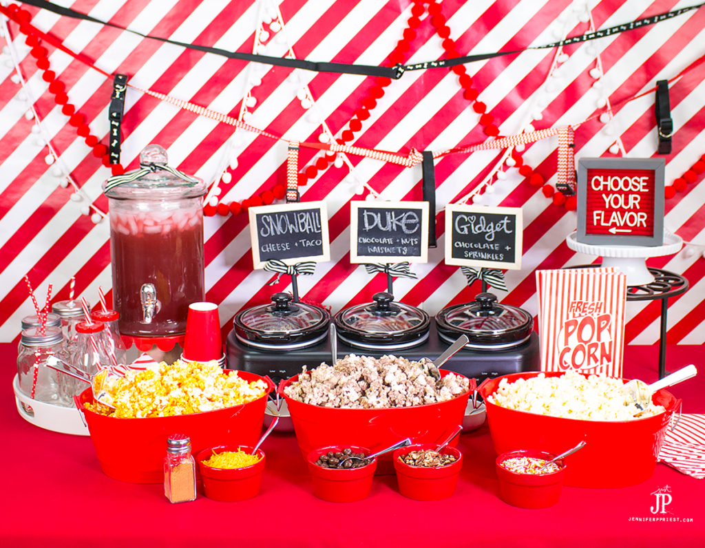 [AD] DIY Popcorn Bar: To celebrate that The Secret Life of Pets is now on Blu-ray and DVD, we created a DIY popcorn bar with flavors inspired by the movie's characters. Get the recipe to create THREE The Secret Life of Pets inspired popcorn mixes for your next movie night AND see how to set up a DIY Popcorn Bar #TheSecretLifeofPets #PetsPack http://jenniferppriest.com/the-secret-life-of-pets-movie-night-with-diy-popcorn-bar""