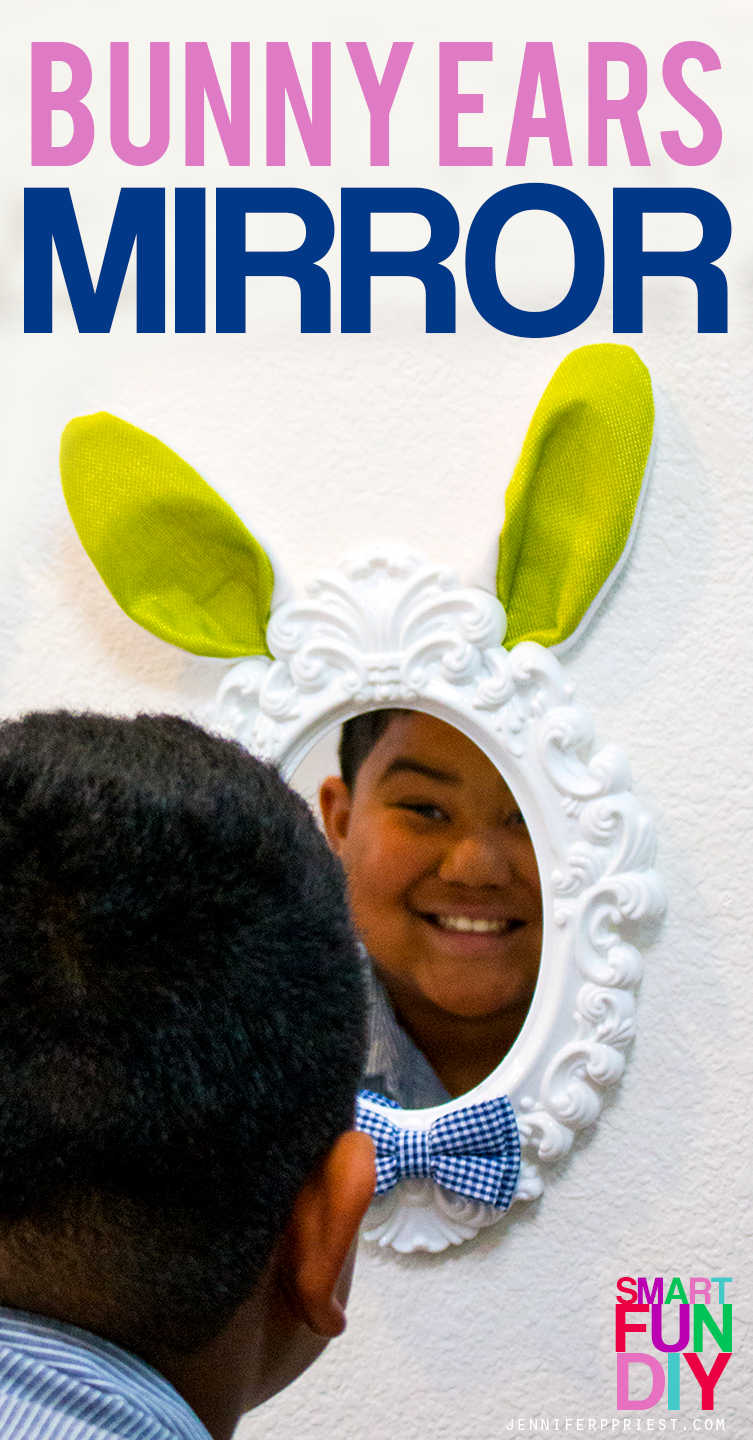 Easter Bunny ears mirror craft - make these cute mirrors just $3 each with supplies from 99 Cents Only Stores! Make this a kids craft, together! #99YourEaster #DoingThe99 [AD]