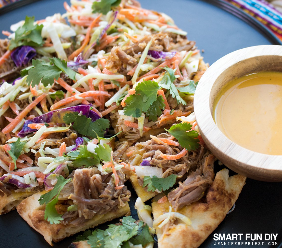 PULLED PORK Flatbread recipe - combine pulled pork with Stonefire Authentic Flatbreads​ Naan for a delish crunchy snackable GAME DAY treat!