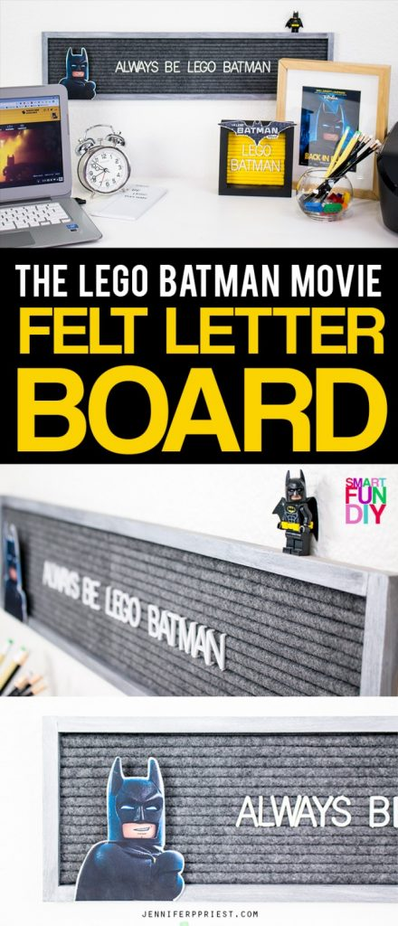 "Make a DIY felt letter board so you can display the greatest quote in the world: ""Always Be LEGO Batman"". We're only working with black and very very dark gray for this one … watch #LEGOBatmanMovie in theaters February 10! Get the full supply list AND The LEGO Batman Movie printables here: http://jenniferppriest.com/lego-batman-movie-kids-felt-letter-board [AD]"