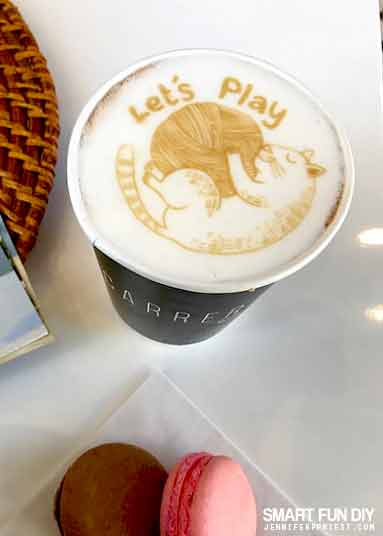 Custom latte art with Coffee Ripples app at Cafecito time with got milk? at Carrera Café at 8251 Melrose Ave, Los Angeles, CA 90046