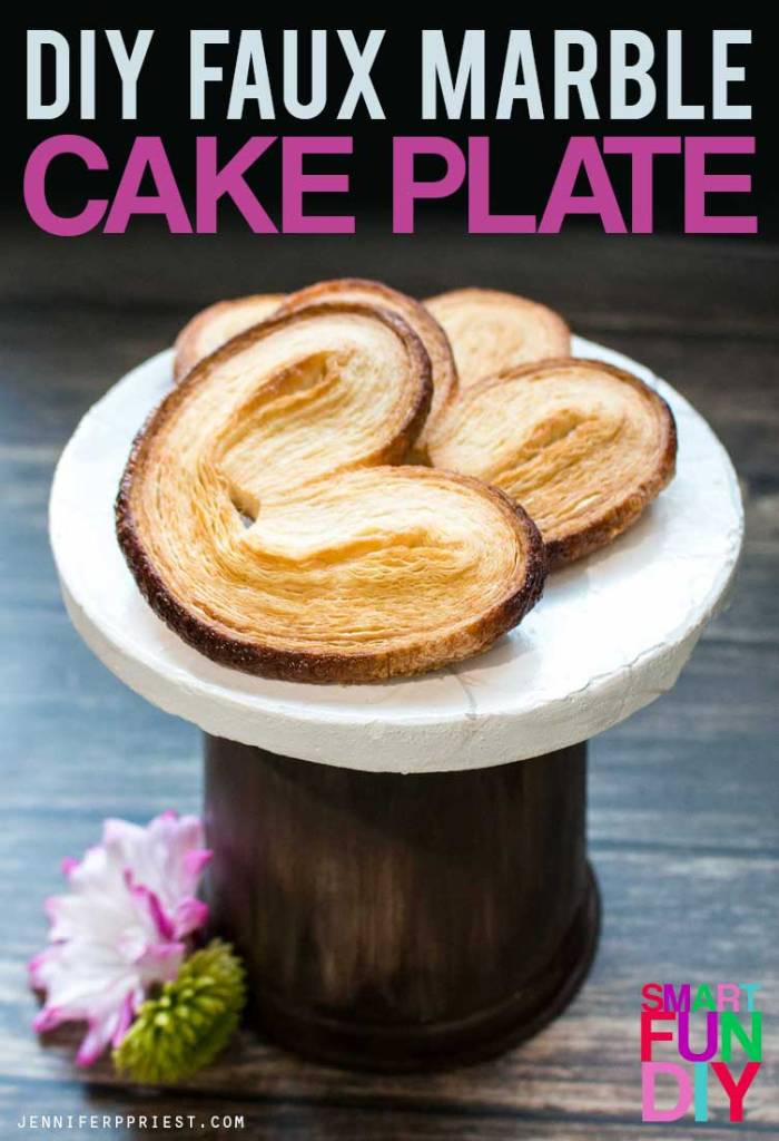How to make a faux marble and wood cake plate with a yogurt tub! Easy yogurt tub craft idea using a Mountain High Yoghurt tub.