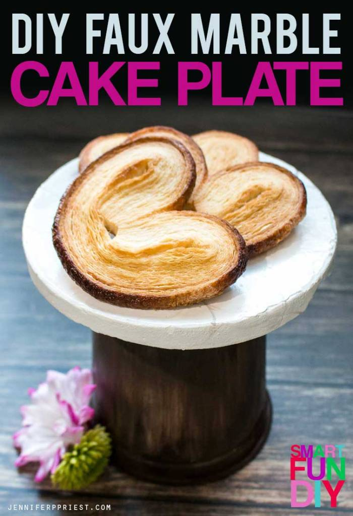 Make this faux marble and wood cake plate with a yogurt tub! Easy yogurt tub craft idea using a Mountain High Yoghurt tub. Great for wedding or party decor when you need A LOT of cake plates but don't want to spend the money.